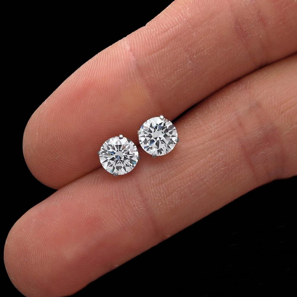 2ct brilliant created diamond earrings 14k real white gold. Black Bedroom Furniture Sets. Home Design Ideas