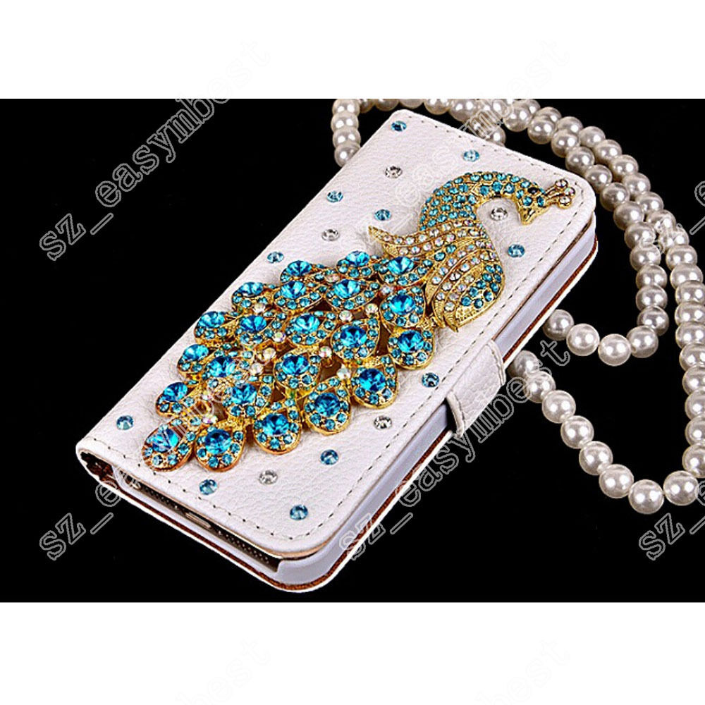 Bling Diamond Crystal Peacock Flip Wallet Phone Case Cover