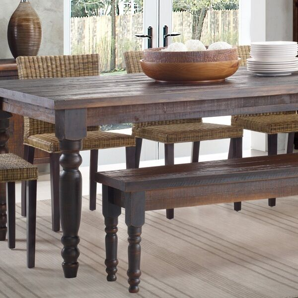 Kitchen Table With Bench: Rustic Wood Dining Table Bench Solid Distressed Look
