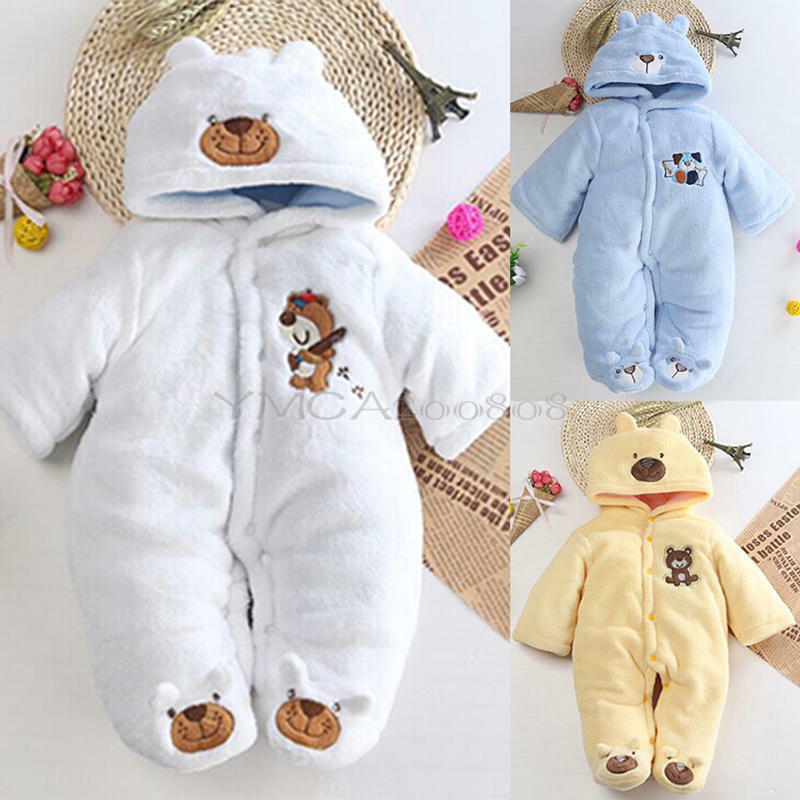 Newborn Baby Girls Boys Hoo Jumpsuit Romper Winter