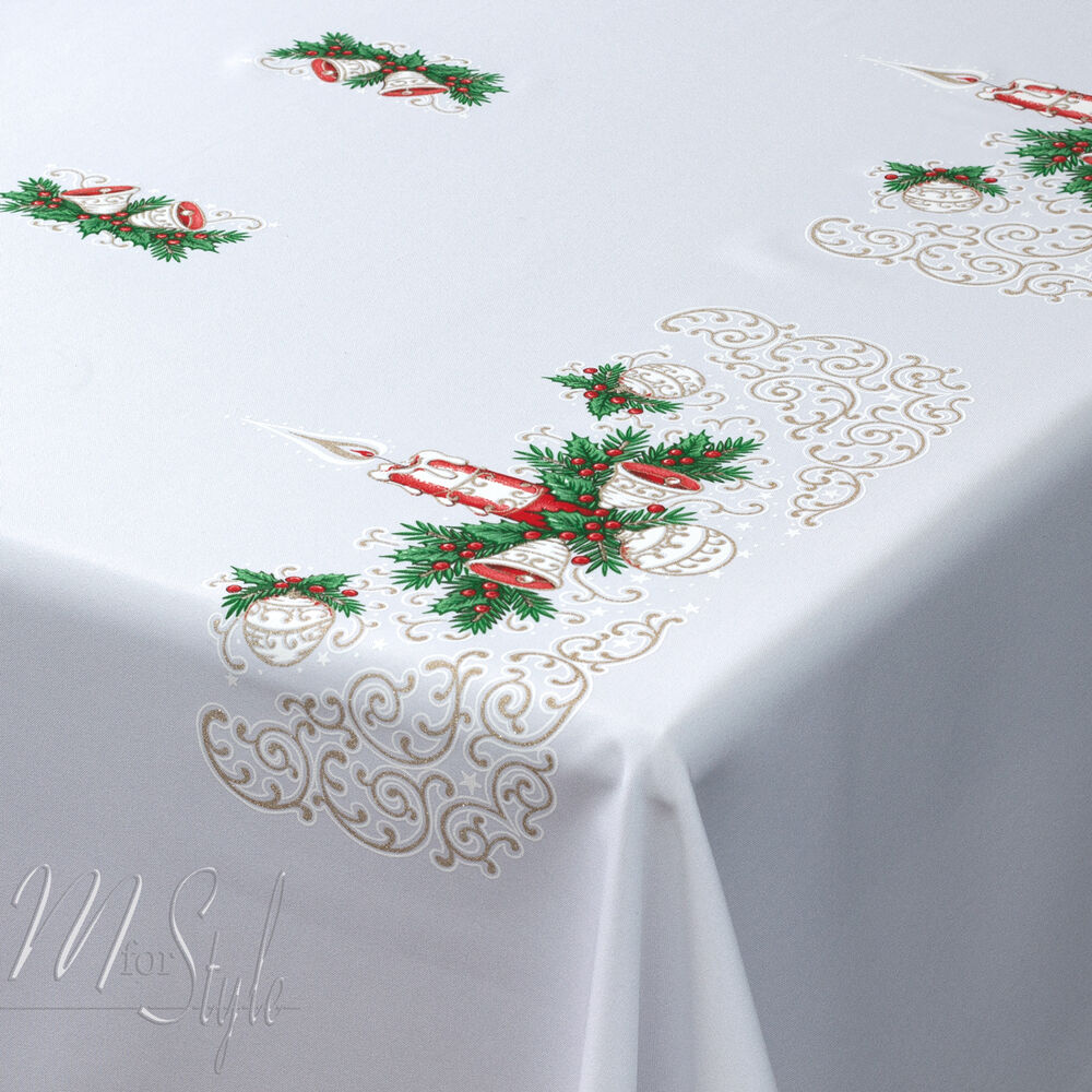 Christmas tablecloth white xmas candle red gold green