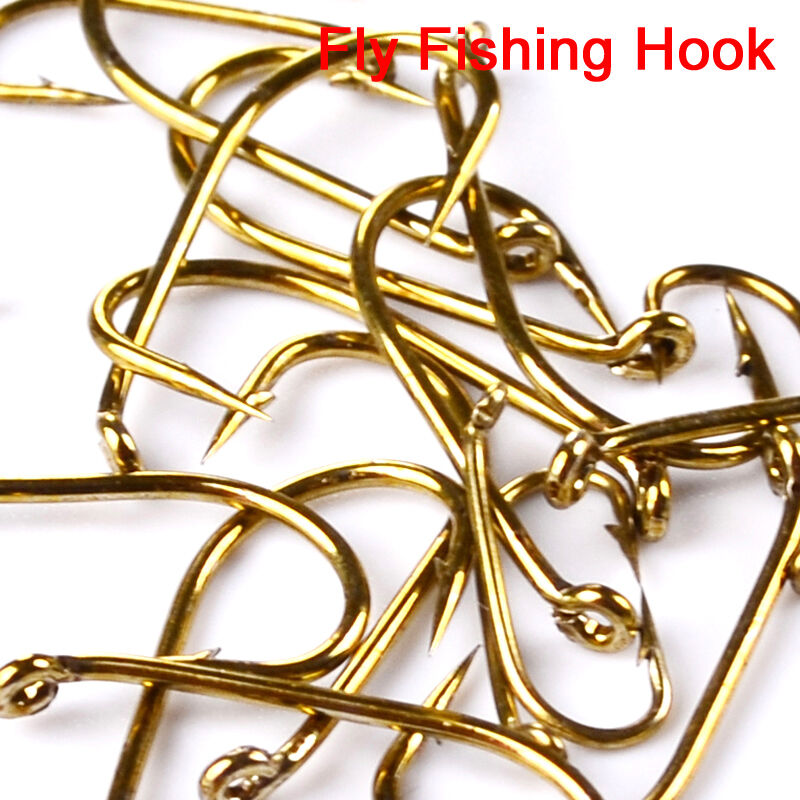 New 100pcs lot fly hook fishing hooks 8 12 14 16 size for Trout fishing hooks