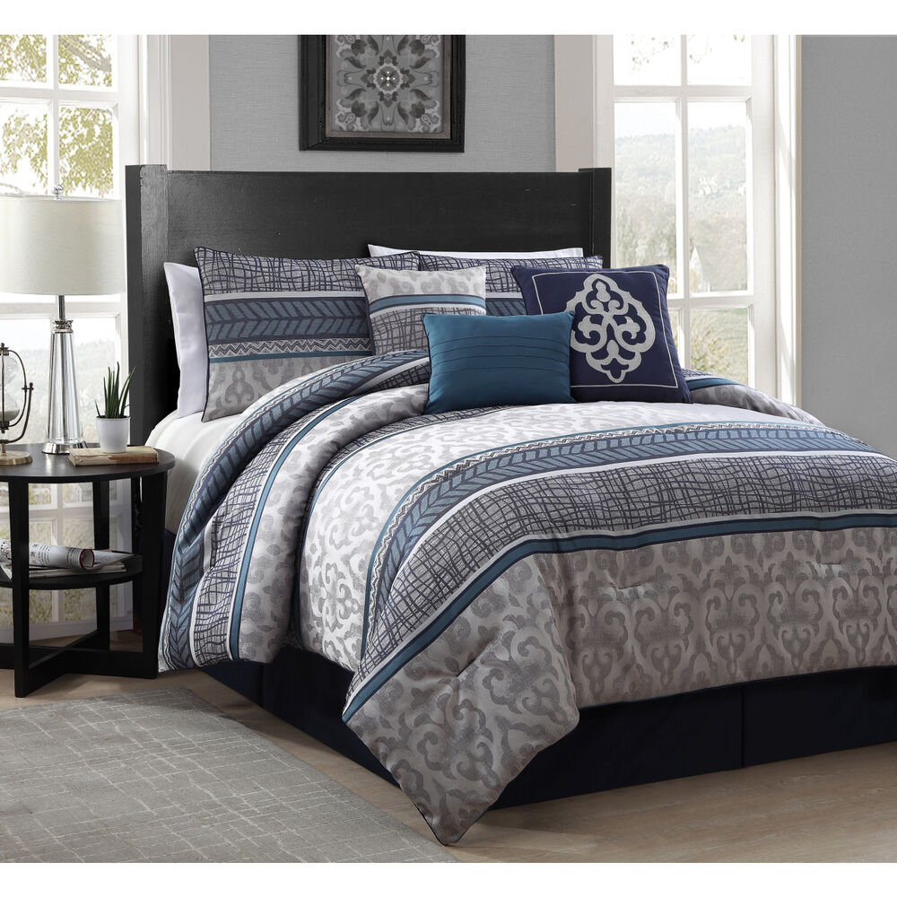 Bedroom Blue Grey Raised Bedroom Bed Plans Small Bedroom Black And White Art On Bedroom Wall: Simon 7-piece Polyester Comforter Set