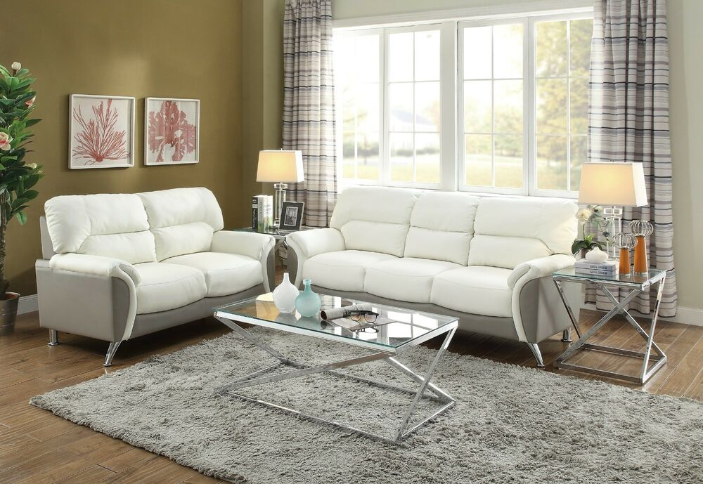 Modern 2 piece Sofa Couch Loveseat Set Love Seat Living