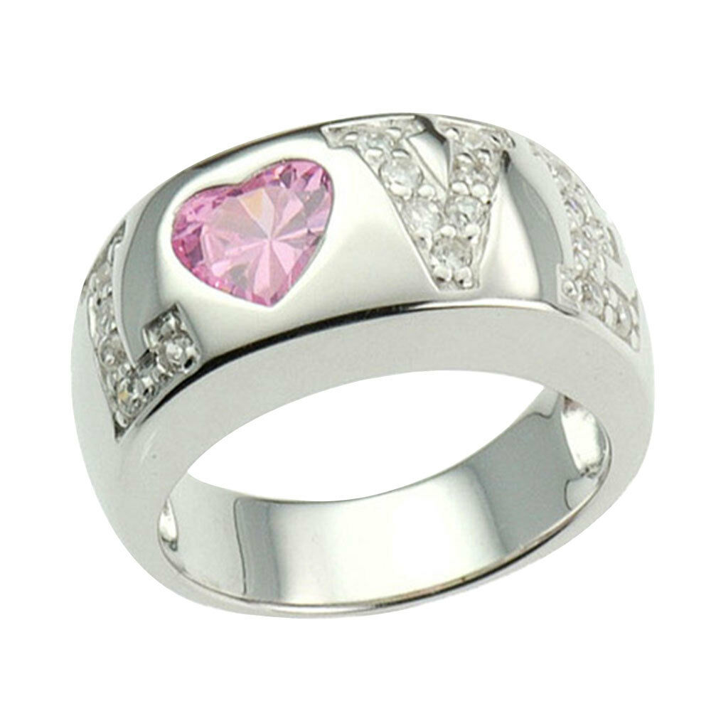 Heart pink cz sterling silver love jewelry women wedding for Wedding rings with pink