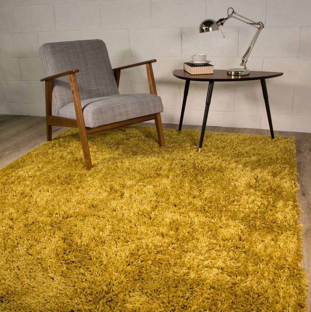 Ochre Mustard Yellow Gold Bright Shaggy Area Rug For