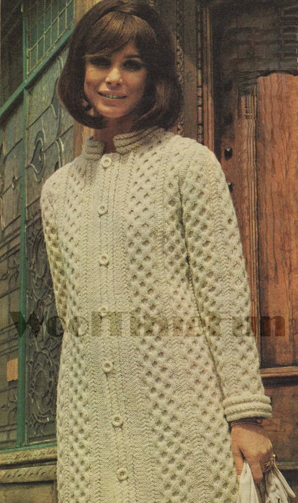 Vintage Aran Cardigan Knitting Pattern : Vintage Knitting Pattern Ladys Aran/Cable Coat/Cardigan ...