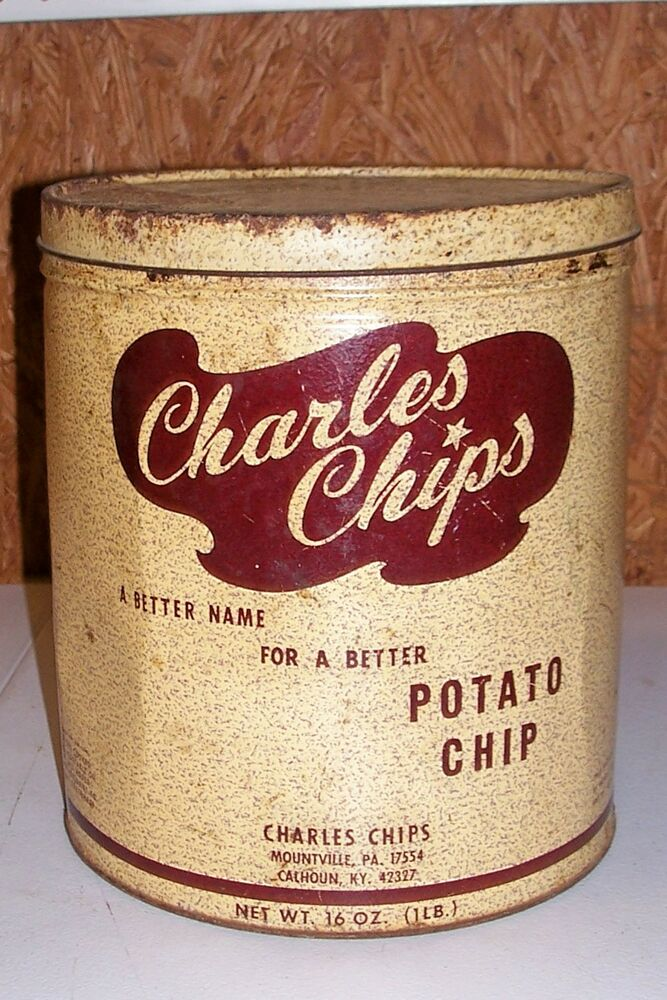 old charles chips potato chip tin box container kitchen ad. Black Bedroom Furniture Sets. Home Design Ideas