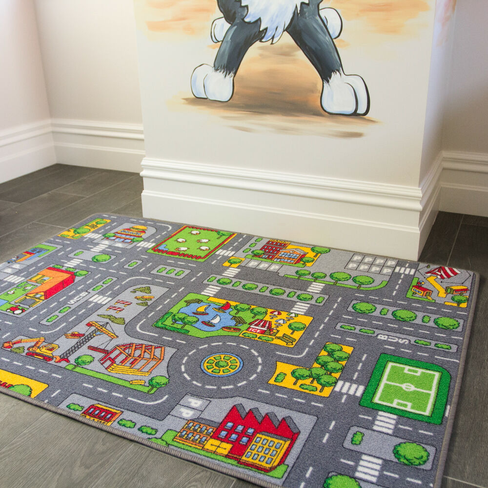 Kids Roads City Toy Map Floor Mat Rug For Cars Play Girls