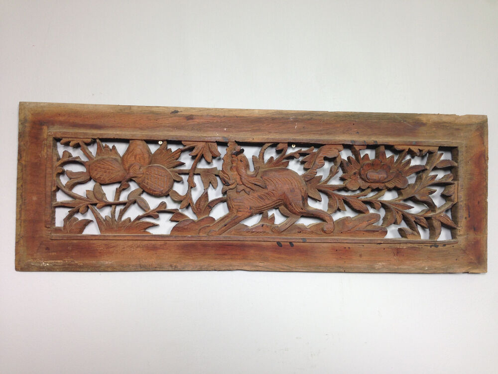 Chinese asian carved wood bed door panel martlocal