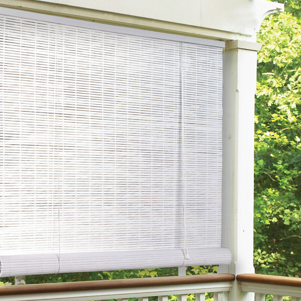 Lewis hyman white indoor outdoor 1 4 inch rollup blind ebay for 15 window