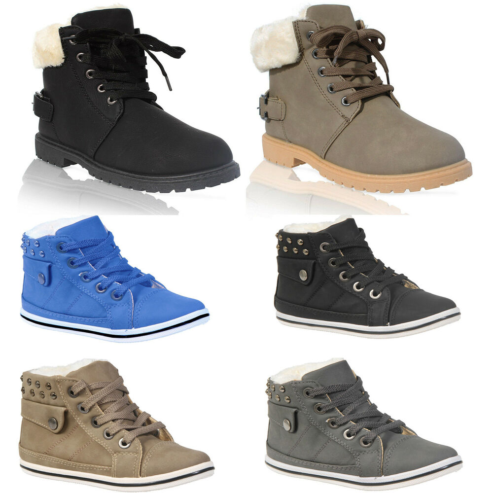 KIDS GIRLS BOYS FAUX FUR WINTER WARM LACE UP ANKLE BOOTS ...