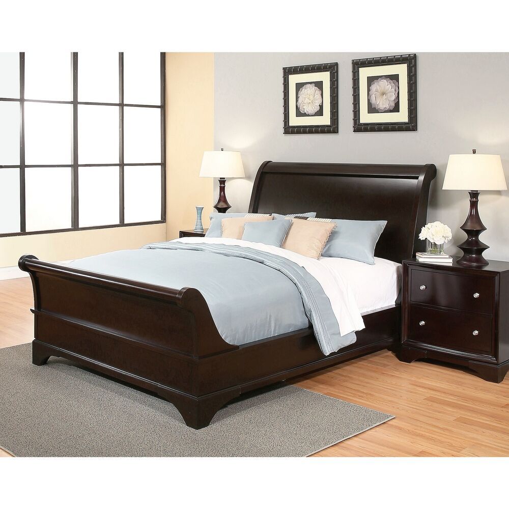 abbyson kingston espresso sleigh king size bed ebay. Black Bedroom Furniture Sets. Home Design Ideas