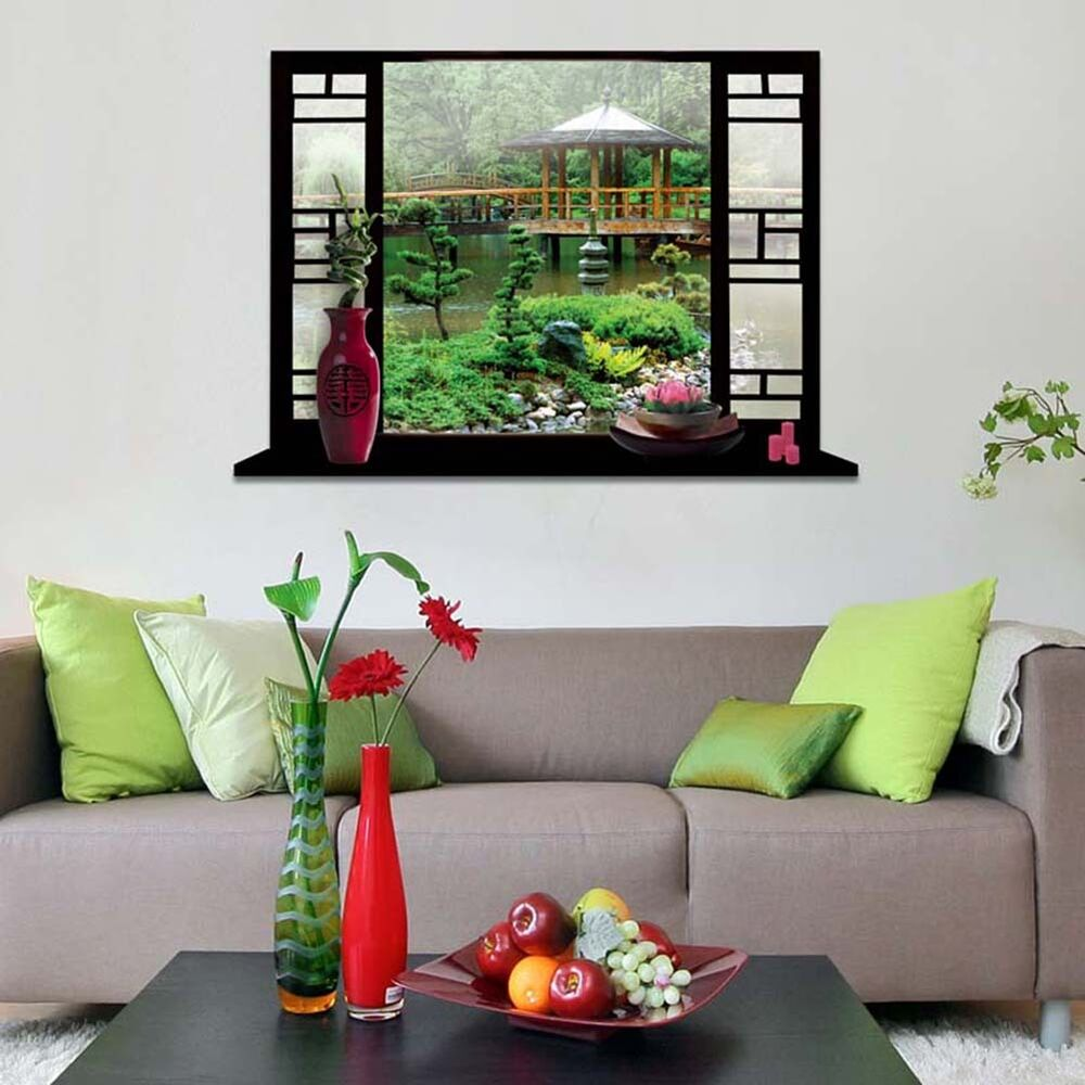 Home room wall decor 3d false window wall stick vinyl art for Room decor 3d