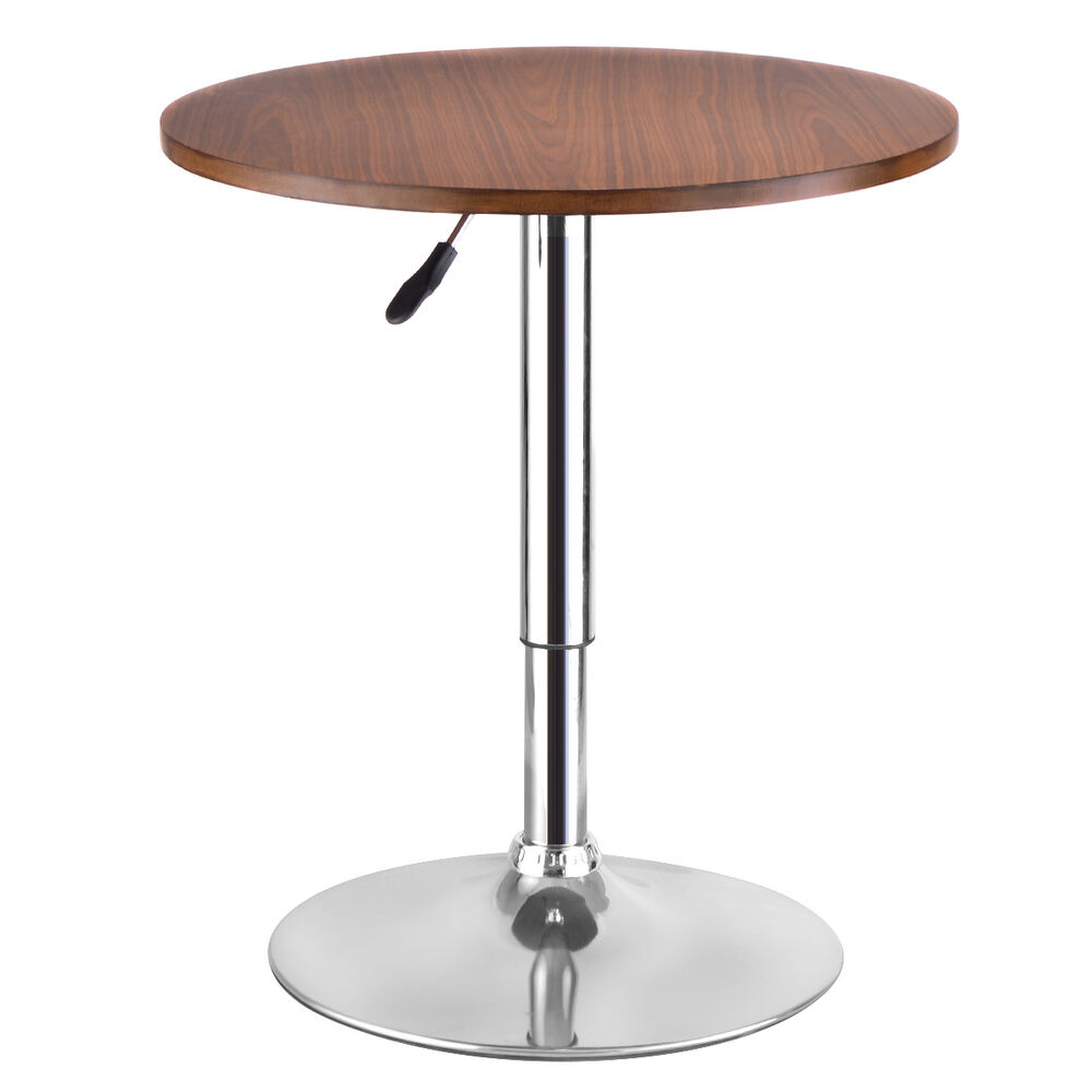 Modern round bar table adjustable bistro pub counter wood for Table bar moderne
