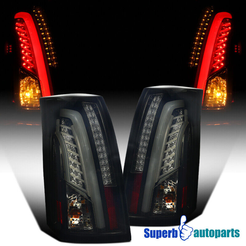 2006 Chevy Silverado Tail Lights >> LED Bar 2003-2007 Cadillac CTS Glossy Black Smoke Lens Tail Brake Lights | eBay
