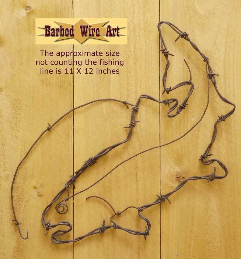 Trout - handmade metal barbed wire art fish animals artist US lure ...