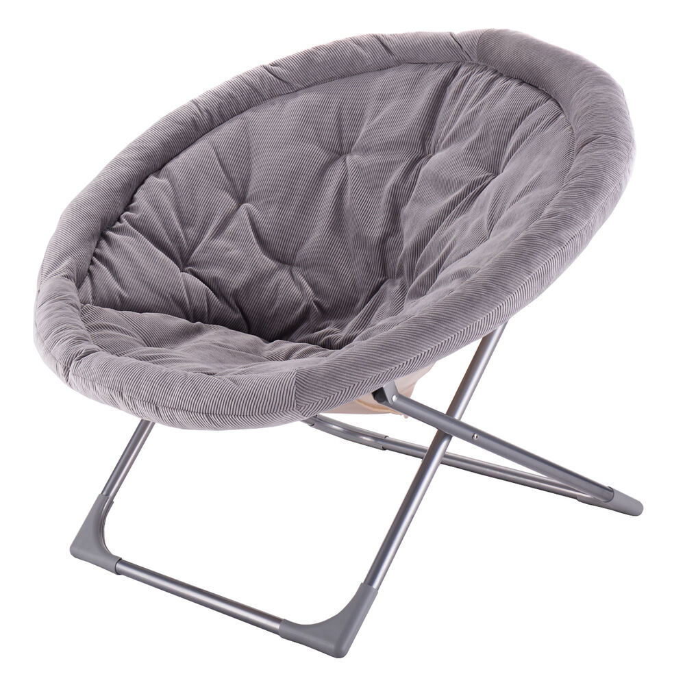 Black saucer chair - Oversized Large Folding Saucer Moon Chair Corduroy Round Seat Living Room Gray Ebay