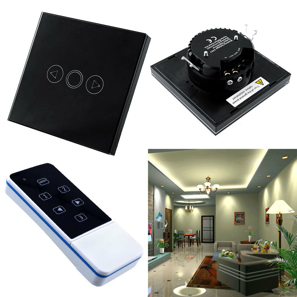 Remote Control Home Lighting: 1 Gang Home Light LED Touch Remote Control Dimmer Black