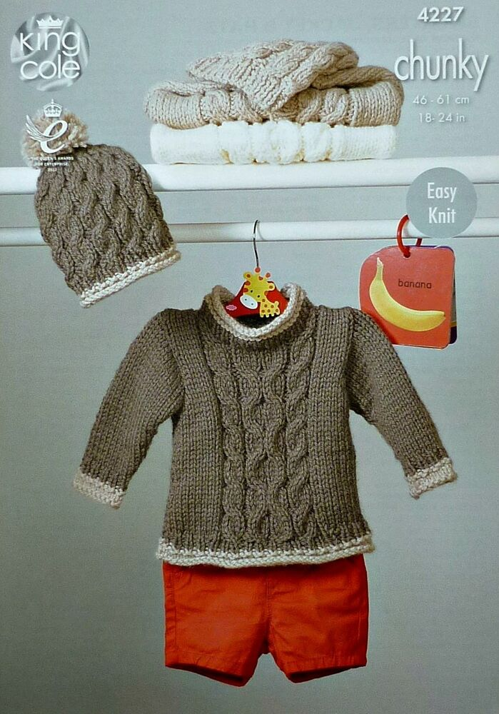 Chunky Knit Jumper Pattern : Baby KNITTING PATTERN Babies Easy Knit Cable Jumper & Hat Chunky King Col...