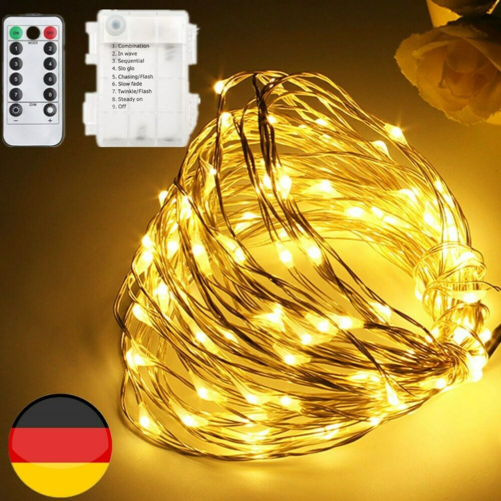 100led solar lichterketten tannenbaum deko weihnachten lichterketten mit 8 modus ebay. Black Bedroom Furniture Sets. Home Design Ideas