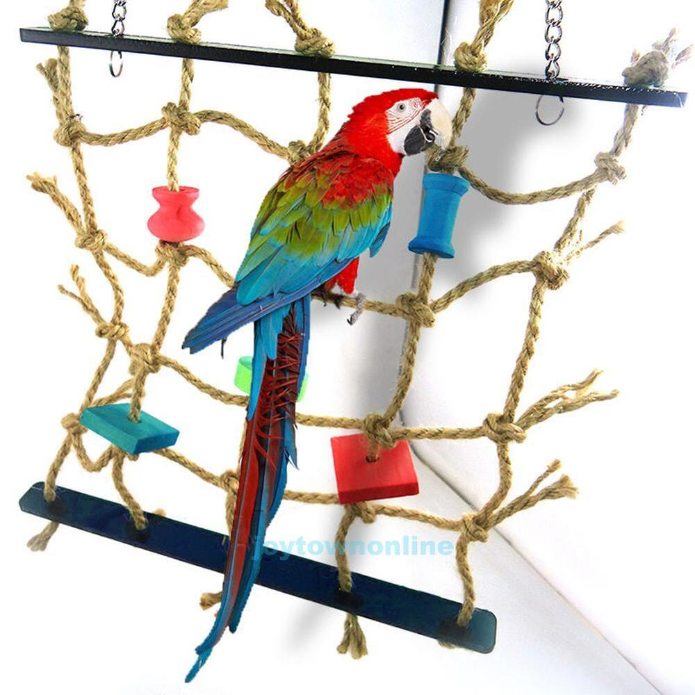 Pet Bird Toys : New rope net swing ladder pet toys parrot birds chew play