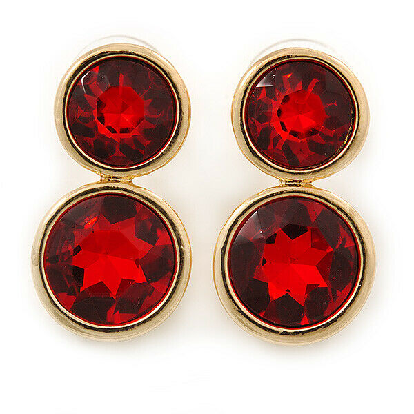 Red Glass Stone : Double red glass stone stud earring in gold tone mm l