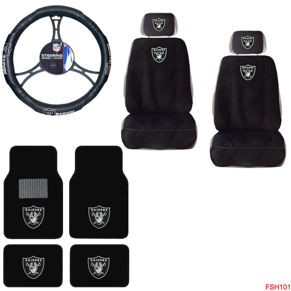 Nfl Oakland Raiders Car Truck Seat Covers Steering Wheel