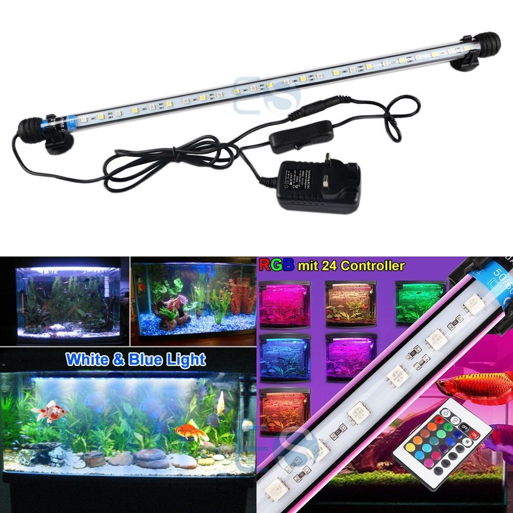 Aquarium fish tank led smd rgb white blue light bar lamp for Fish tank lighting