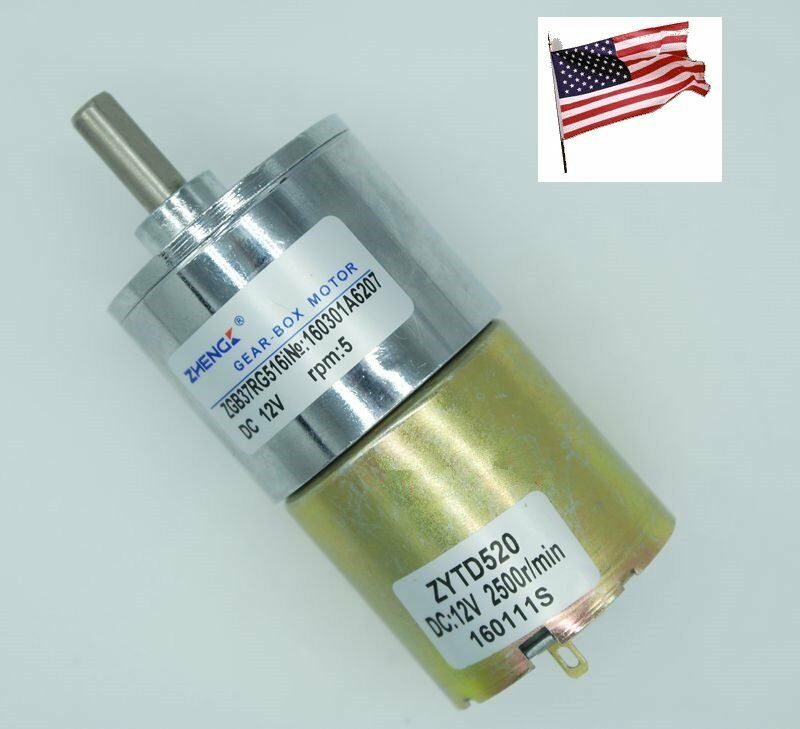 Dc 12v 5rpm electric gear motor speed reduce high torque for Low speed dc motor 0 5 6 volt
