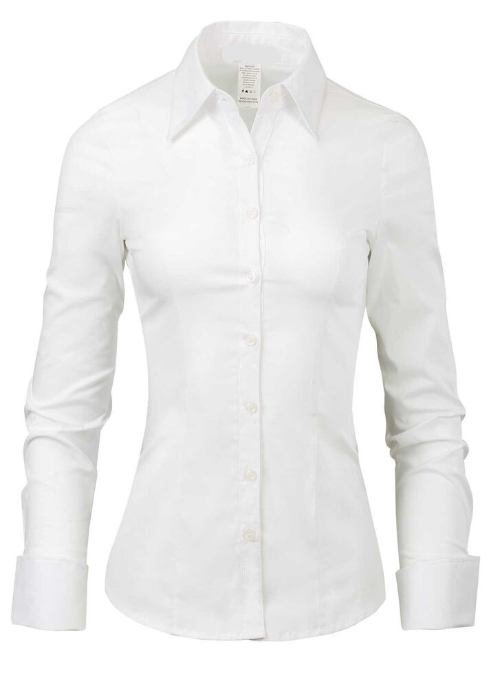 La2ny womens tailored long sleeve button down shirt with for Womens stretch button down shirt