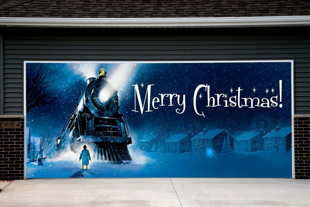 Merry christmas garage door covers 3d effect print banner for Christmas garage door mural
