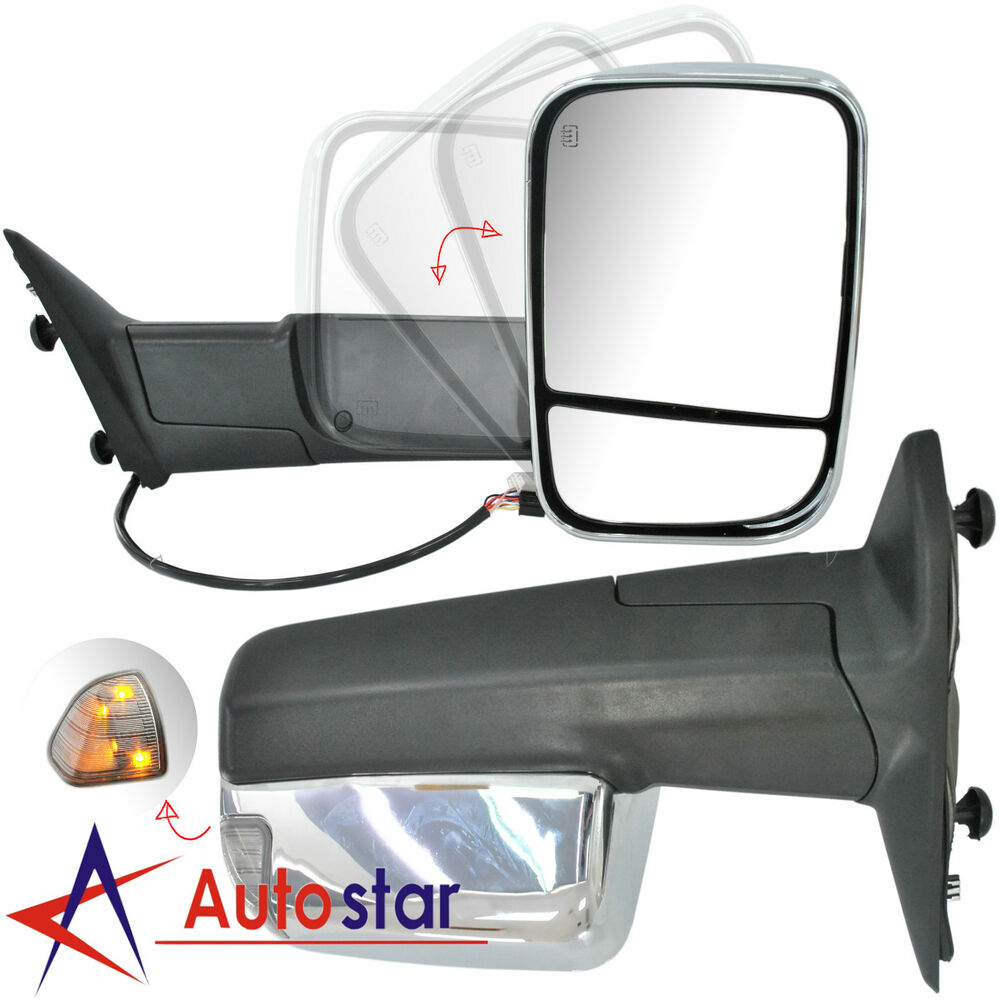 Chrome Power Heated Towing Mirrors Set For 09 15 Dodge Ram