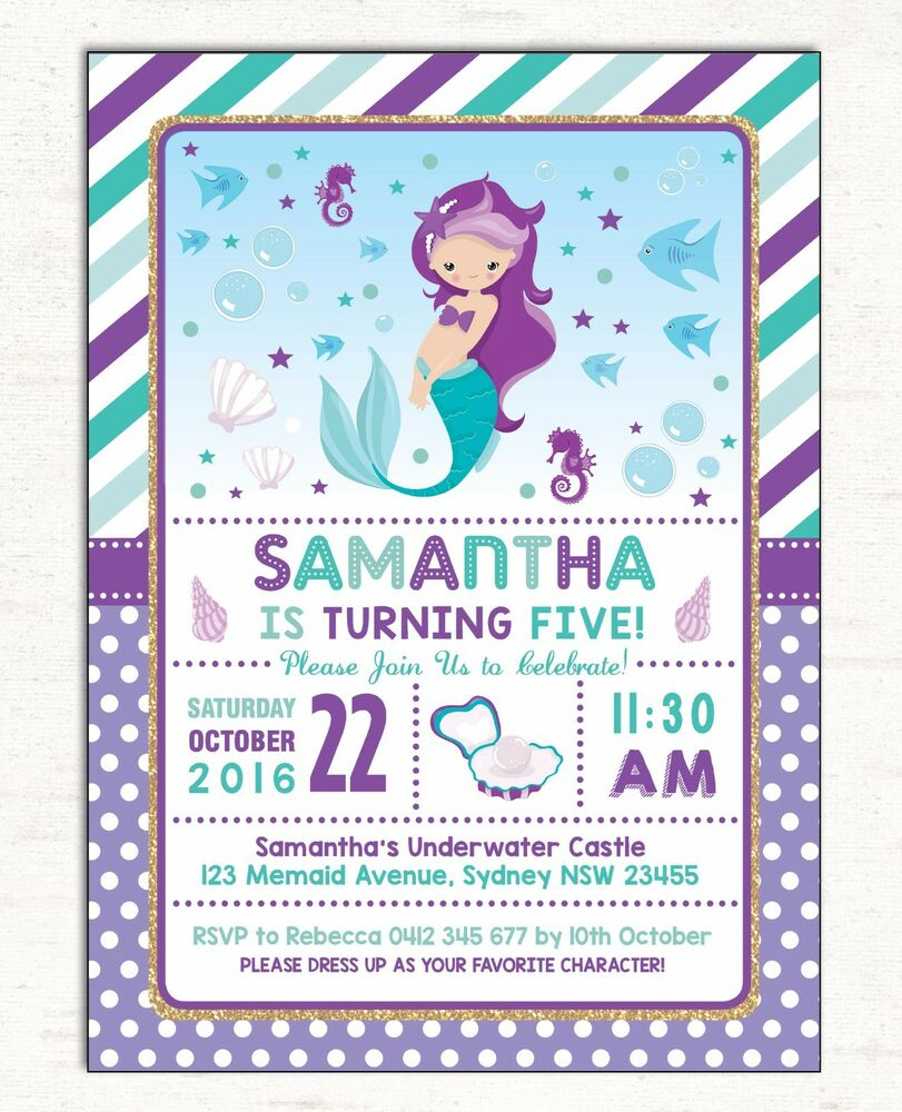 Details About Little Mermaid Invitation First Birthday Invite Pool Party Supplies Under Sea