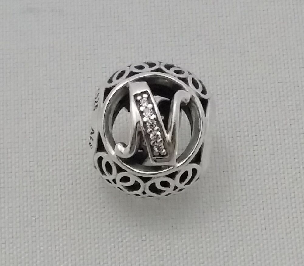 new authentic pandora 925 sterling silver charm letter n