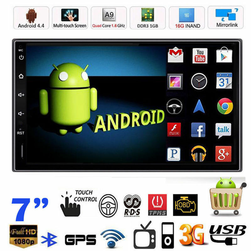 Android 4 4 wifi gps navi 7 double 2 din car radio stereo for Ebay motors app android