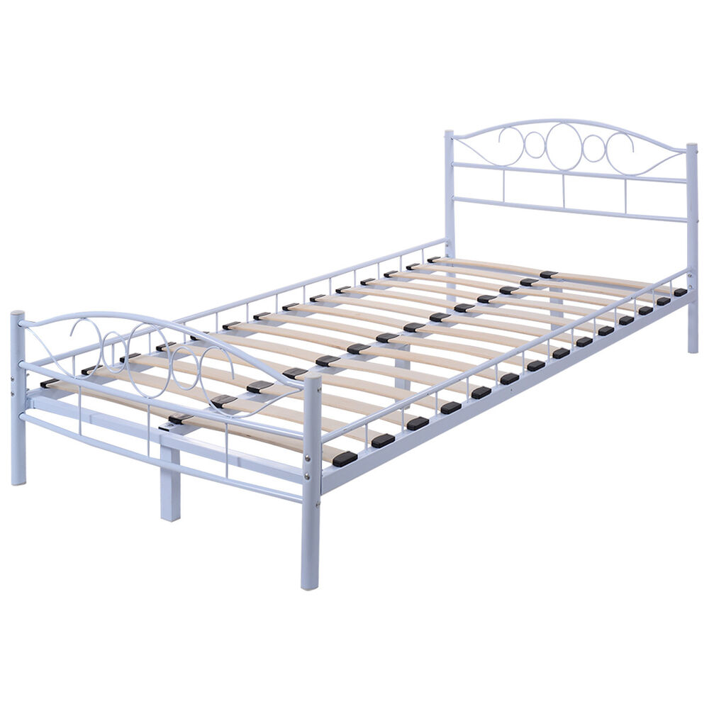 Twin size wood slats steel bed frame platform headboard for Twin size wood bed frame