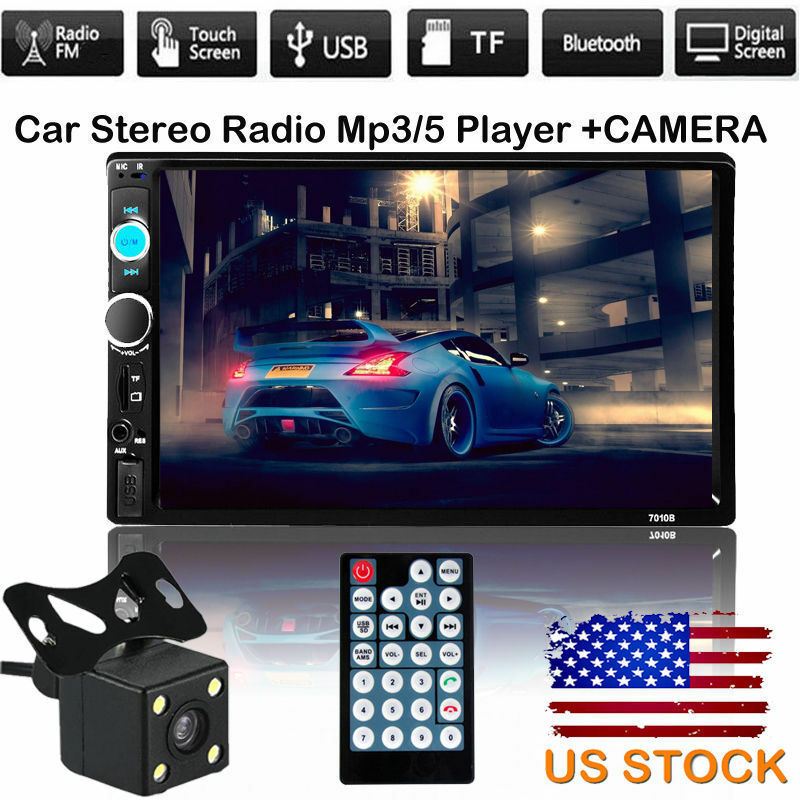 "7"" HD Double 2DIN Car MP5 MP3 Player Bluetooth Touch"