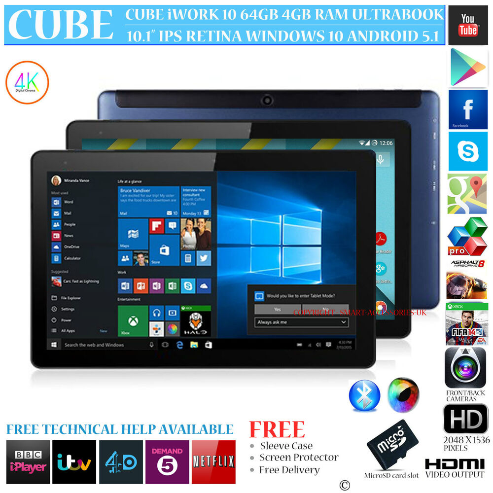 cube iwork 10 64gb with 4g lte modem dual os windows 10 android 5 1 tablet pc ebay. Black Bedroom Furniture Sets. Home Design Ideas