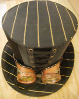 Steampunk madhatter Copper/black pinstripe Top Hat with rustic/frame goggles
