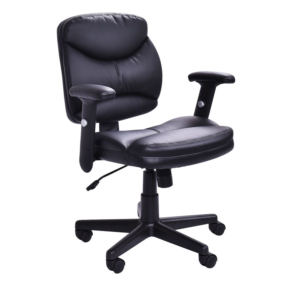 Executive PU Leather Office Chair Mid Back Modern Computer Desk Task Black Ne