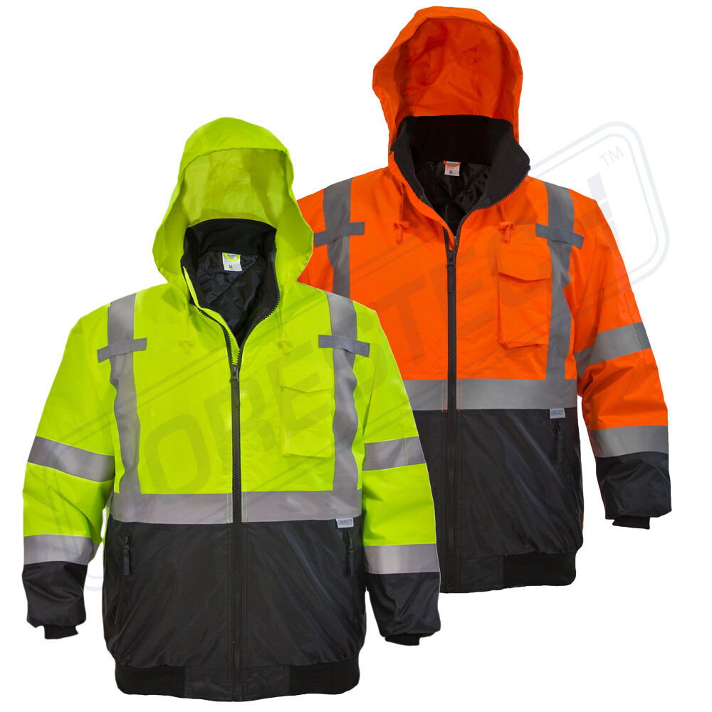 Hi Vis Insulated Safety Bomber Reflective Jacket Road Work