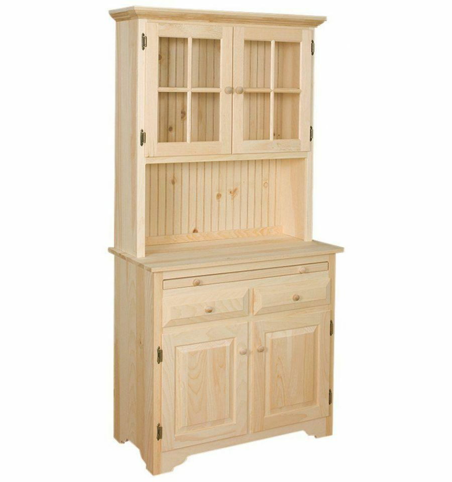 kitchen hutch cabinet amish unfinished solid pine hutch china cabinet with 21749