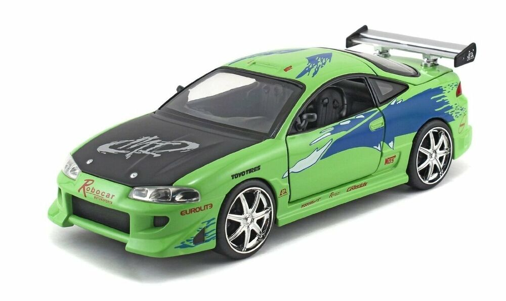 jada fast and furious brian 39 s mitsubishi eclipse 1 24 green diecast car model ebay. Black Bedroom Furniture Sets. Home Design Ideas