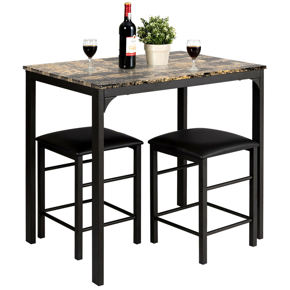 3 Piece Dining Set Bar Stools Pub Table Breakfast Chairs: 3 PCS Counter Height Dining Set Faux Marble Table 2 Chairs