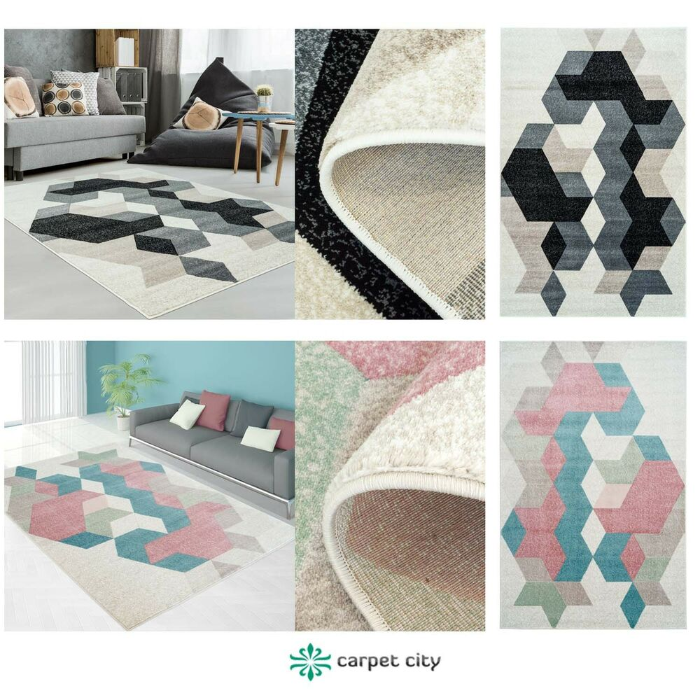 teppich modern designer wohnzimmer inspiration fasson mosaik pastell blau grau ebay. Black Bedroom Furniture Sets. Home Design Ideas