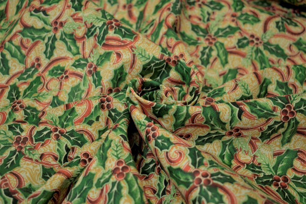Christmas mistletoe print quilt fabric craft apparel for Apparel fabric