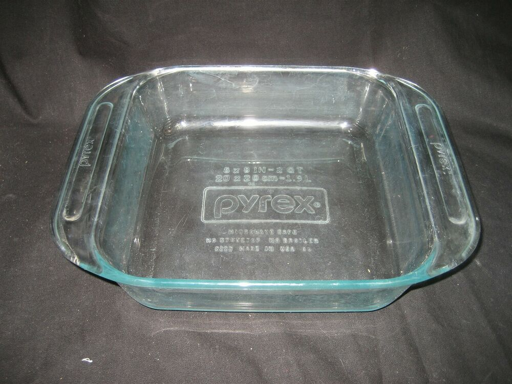 Vintage Pyrex Blue Tinted Large Handles Casserole Baking