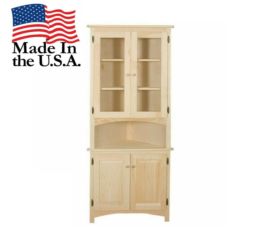Amish Unfinished Solid Pine Corner Hutch China Cabinet Country Handmade Wood 754164474183 Ebay