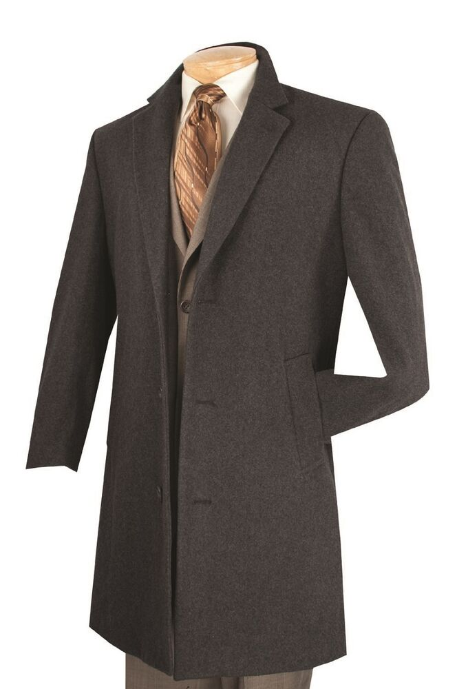 "Men's Trench Over Coat Single Breasted 3 Buttons 38"" Car ..."